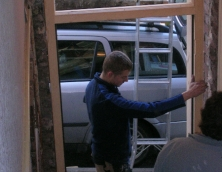 Will Woolley fitting a door frame